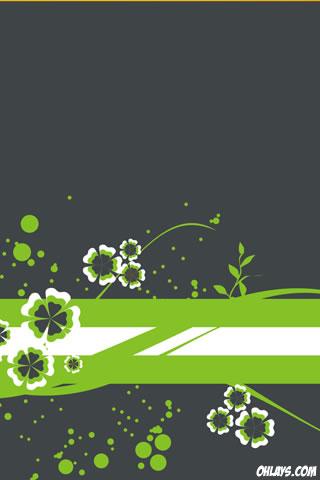 Green FLowers iPhone Wallpaper