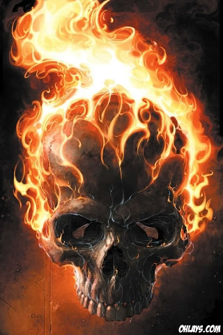 Flaming Skull iPhone Wallpaper